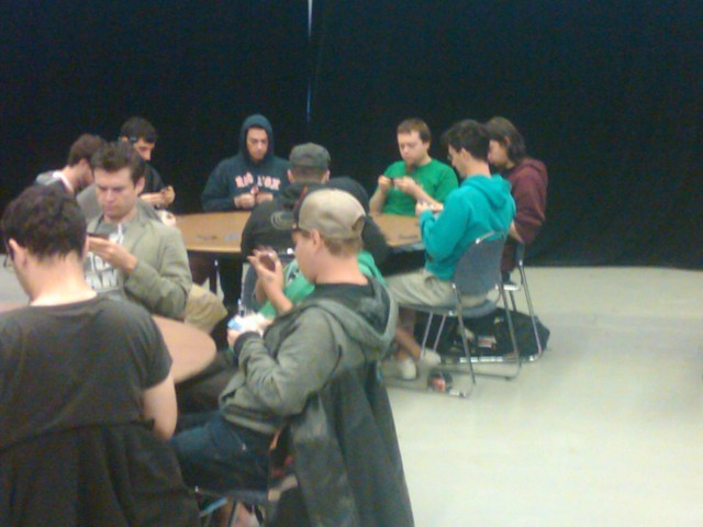 Christian (in his signature teal hoodie) drafting on day two at GP Montreal.