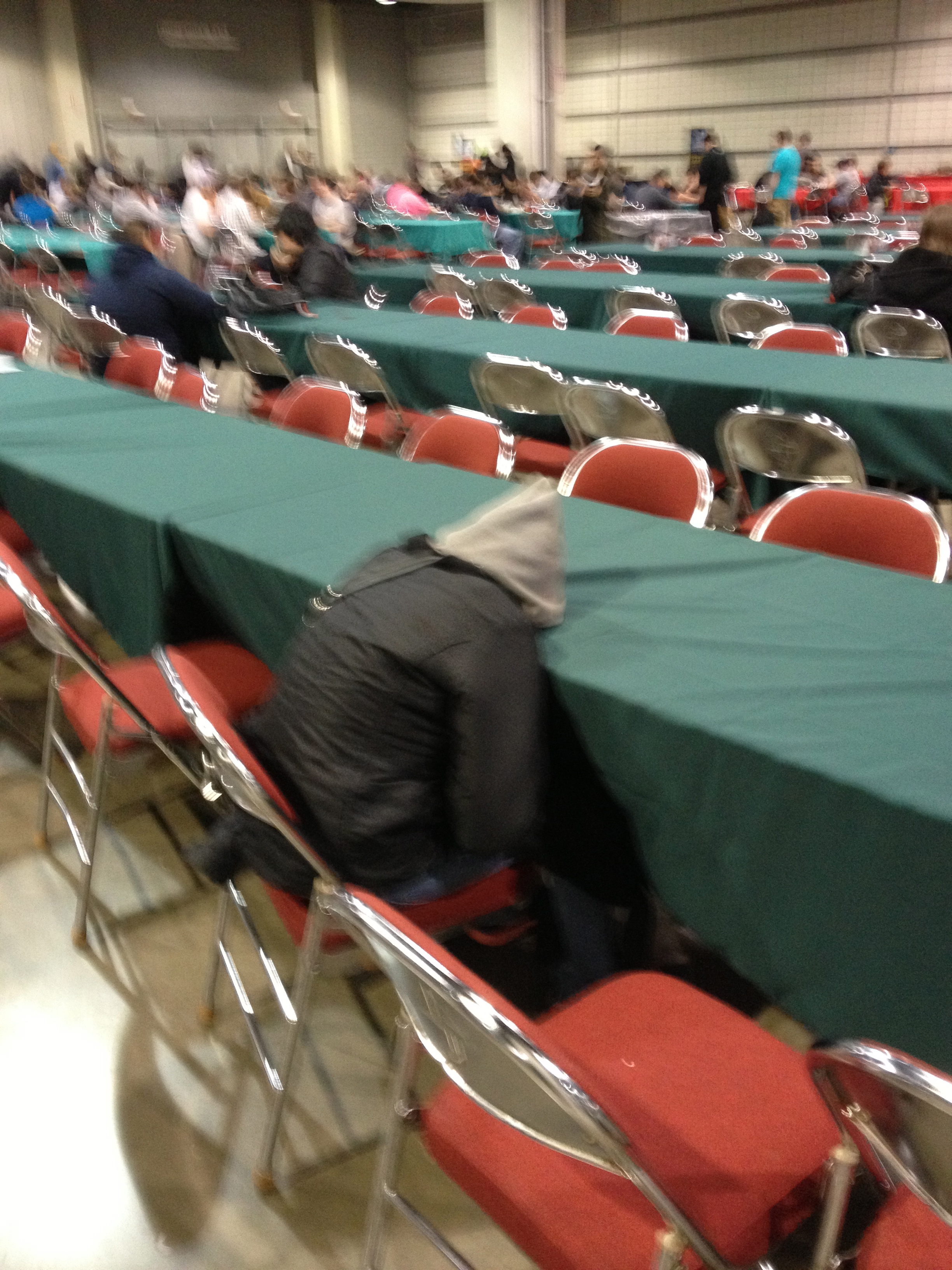 I saw this guy before I think R1, and it just cracked me up. I don't think I've ever seen a guy with his head more flatly on a table.
